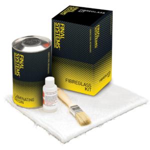 Final Systems Fibreglass Kit with Resin, Catalyst and Fibreglass Matting Free Brush.